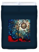 Abstract Art Contemporary Cat Bird Circle Of Life Collection Cat Perch By Madart Duvet Cover