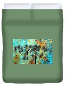 Abstract Art Landscape Metallic Gold Textured Painting Spring Blooms II By Madart Duvet Cover