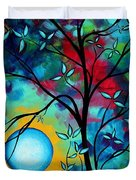 Abstract Art Landscape Tree Blossoms Sea Painting Under The Light Of The Moon I  By Madart Duvet Cover