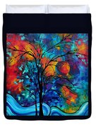 Abstract Art Landscape Tree Bold Colorful Painting A Secret Place By Madart Duvet Cover