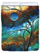 Abstract Art Original Colorful Painting Mystery Of The Moon By Madart Duvet Cover