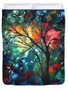 Abstract Art Original Colorful Painting Spring Blossoms By Madart Duvet Cover