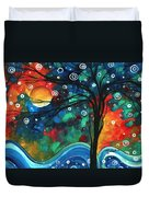 Abstract Art Original Landscape Colorful Painting First Snow Fall By Madart Duvet Cover