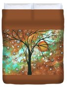 Abstract Art Original Landscape Painting Bold Circle Of Life Design Autumns Eve By Madart Duvet Cover