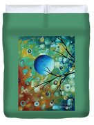 Abstract Art Original Landscape Painting Colorful Circles Morning Blues I By Madart Duvet Cover