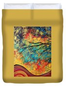 Abstract Art Original Landscape Painting Go Forth I By Madart Studios Duvet Cover