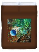 Abstract Art Original Landscape Painting Mint Julep By Madart Duvet Cover