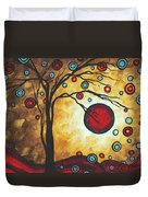 Abstract Art Original Metallic Gold Landscape Painting Freedom Of Joy By Madart Duvet Cover