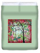 Abstract Art Original Whimsical Magical Bird Painting Through The Looking Glass  Duvet Cover