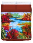 Abstract - Autumn Blaze On Catskill Creek Duvet Cover
