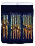 Abstract Blue And Gold Organ Pipes Duvet Cover