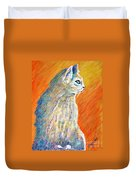 Jazzy Abstract Cat Duvet Cover