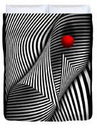 Abstract - Catch The Red Ball Duvet Cover by Mike Savad