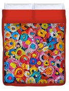 Abstract Colorful Flowers 1 - Paint Joy Series Duvet Cover