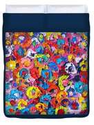 Abstract Colorful Flowers 3 - Paint Joy Series Duvet Cover