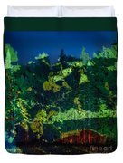 Abstract Colorful Light Projection On Trees Duvet Cover