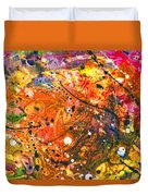 Abstract - Crayon - The Excitement Duvet Cover by Mike Savad