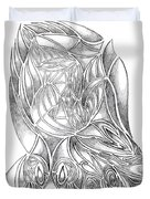 Abstract Drawing Owl Hands Roses Duvet Cover