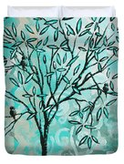 Abstract Floral Birds Landscape Painting Bird Haven II By Megan Duncanson Duvet Cover