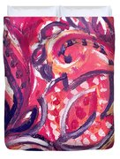 Abstract Floral Design Purple Note Duvet Cover