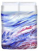 Abstract Floral Marble Waves Duvet Cover