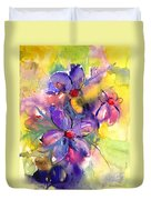 abstract Flower botanical watercolor painting print Duvet Cover