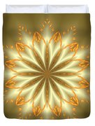 Abstract Flower In Gold And Silver Duvet Cover