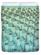 Abstract Green Glass Bottles Duvet Cover