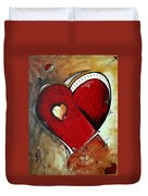 Abstract Heart Original Painting Valentines Day Heart Beat By Madart Duvet Cover