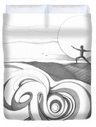 Abstract Landscape Art Black And White Yoga Zen Pose Between The Lines By Romi Duvet Cover