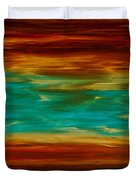 Abstract Landscape Art - Fire Over Copper Lake - By Sharon Cummings Duvet Cover