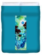 Abstract Landscape Art Original Tree And Moon Painting Blue Moon By Madart Duvet Cover