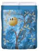 Abstract Landscape Bird Painting Original Art Blue Steel 1 By Megan Duncanson Duvet Cover