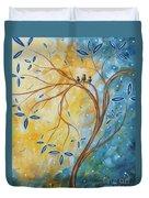 Abstract Landscape Bird Painting Original Art Blue Steel 2 By Megan Duncanson Duvet Cover