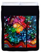 Abstract Landscape Colorful Contemporary Painting By Megan Duncanson Brilliance In The Sky Duvet Cover by Megan Duncanson