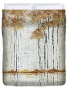 Abstract Neutral Landscape Pond Reflection Painting Mystified Dreams I By Megan Ducanson Duvet Cover