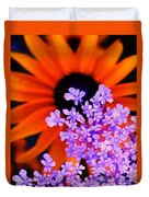 Abstract Orange And Purple Flower Duvet Cover