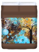 Abstract Painting Chocolate Brown Whimsical Landscape Art Baby Blues By Madart Duvet Cover