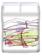 Abstract Pen Drawing Forty-five Duvet Cover