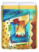 Abstract Pop Art Landscape Floral Original Painting Joyful World By Madart Duvet Cover