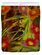 Abstract Poppies Flowers Mixed Media Painting Duvet Cover