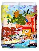 Abstract Portofino Italy Decorative Art Duvet Cover
