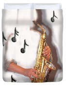 Abstract Saxophone Player Duvet Cover