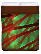 Abstract Tiled Green And Red Fractal Flame Duvet Cover