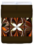 Abstract Triptych - Brown - Orange Duvet Cover
