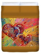 Abstract Valentines Love Hearts Duvet Cover by Julia Apostolova