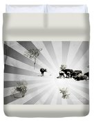 Abstract Vintage Cows Duvet Cover