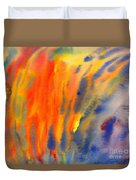 Abstract Watercolor Painting With Fire Flames Duvet Cover