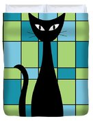 Abstract With Cat In Green Duvet Cover