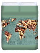 Abstract World Map - Mixed Nuts - Snack - Nut Hut Duvet Cover